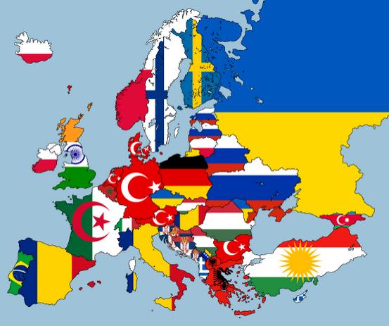 Carte de l'Europe selon la deuxième nationalité la plus présente