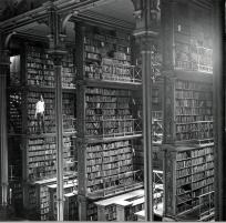 Un homme à la recherche d'un livre dans la bibliothèque principale de Cincinnati's . Cette bibliothèque fut détruite en 1955.